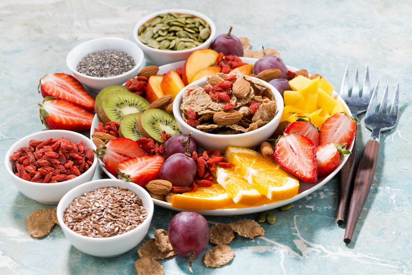 plate of fresh seasonal fruits and superfoods